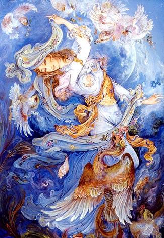 گرمای عشق اثر استاد محمود فرشچیان