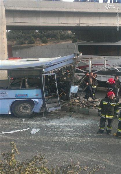 حادثه عجیب اتوبوس در اتوبان شهید چمران اصفهان+عکس