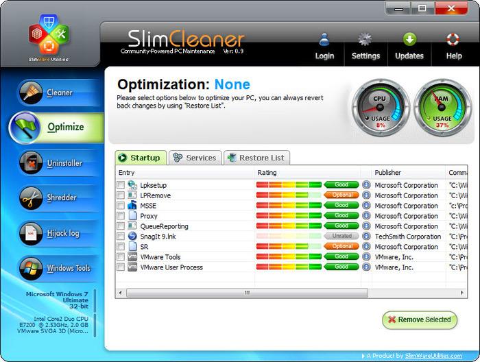 محیط نرم افزاری Slim Cleaner